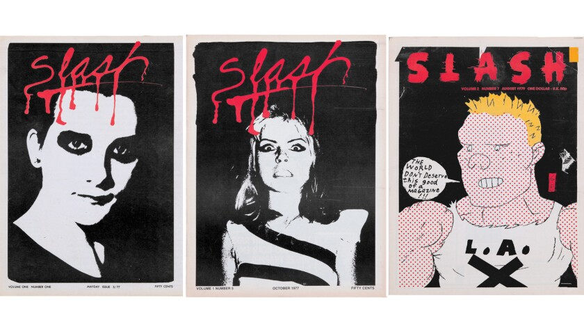 Slash magazine covers featuring, from left: Dave Vanian of the Damned (the debut issue), Blondie's Debbie Harry and artist Gary Panter's comic character Jimbo.