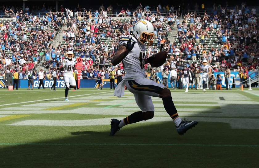 Chargers wide receiver Keenan Allen scores on a 12-yard reception.