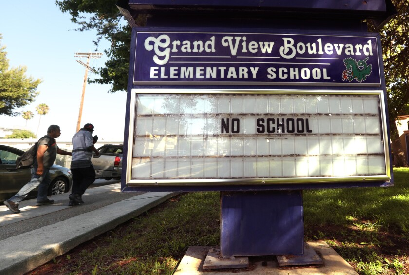 The Grand View Boulevard Elementary School marquee in Mar Vista on July 13