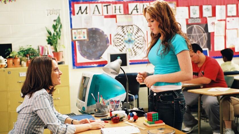 "Tina Fey, left, and Lindsay Lohan on ""Mean Girls"" on Bravo."