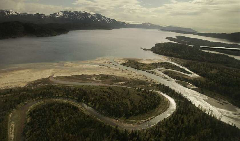 The Pile River flows into the northern end of Lake Iliamna. Located at the base of the Alaskan Peninsula, the lake and its tributaries are the headwaters of the Bristol Bay region.