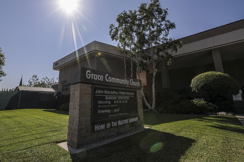 Grace Community Church in Sun Valley draws thousands of worshipers, most of whom do not wear masks or socially distance.