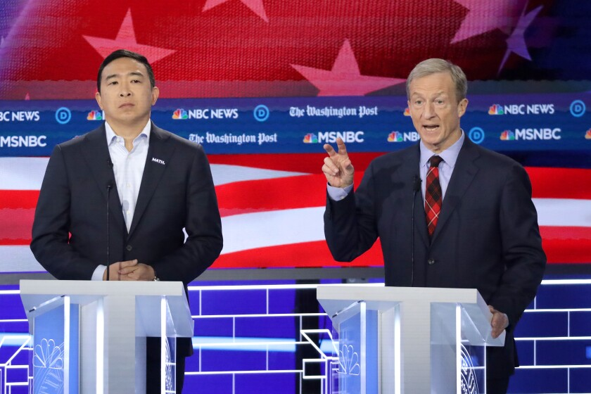 Andrew Yang and Tom Steyer