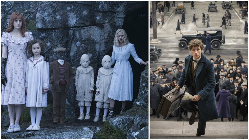 """""""Miss Peregrine's Home for Peculiar Children,"""" left, and """"Fantastic Beasts and Where to Find Them,"""" right, earned costume designer Colleen Atwood a pair of nominations in the Excellence in Fantasy Film category."""