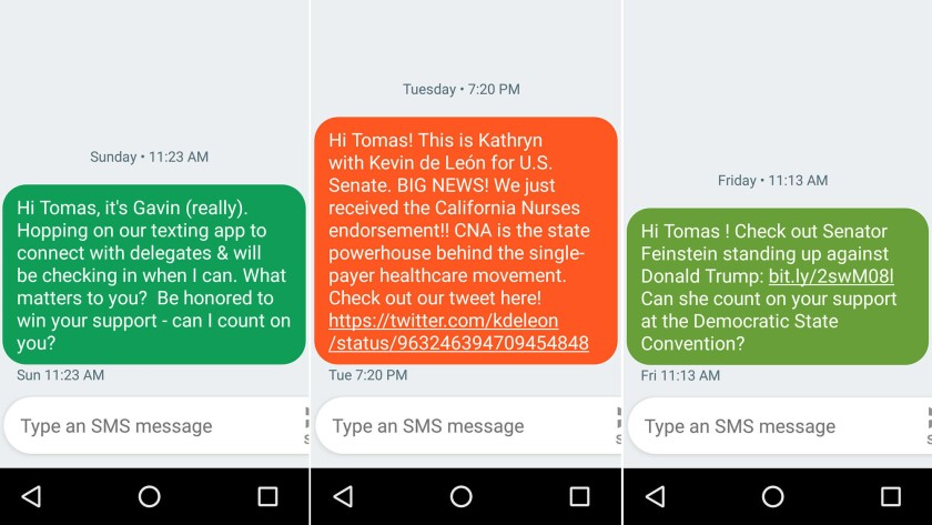 Texts received by Tomas Vera, a Democratic Party delegate from Placer County, seeking his support for Gavin Newsom, Kevin De León and Dianne Feinstein.