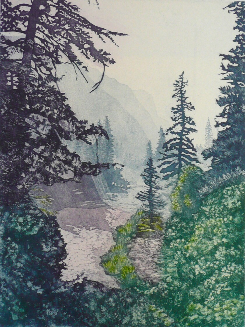 A photo of Morning Mist (Aquatint) by Julianne B Ricksecker