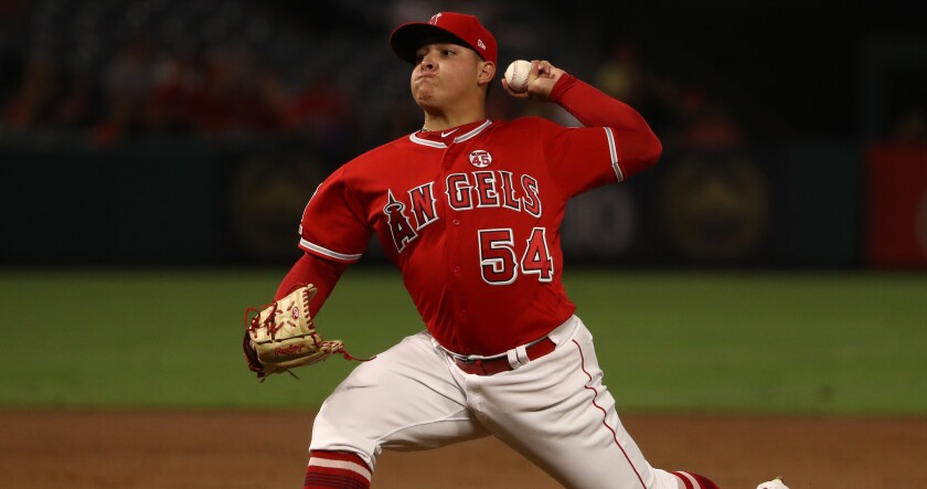 Angels pitcher Jose Suarez pitches in the second inning against the Cleveland Indians at Angel Stadium on Sept. 10, 2019.