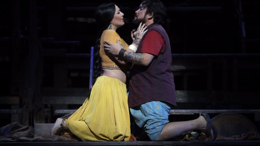 """Nino Machaidze as Leïla and Javier Camarena as Nadir in the Los Angeles Opera production of Bizet's """"The Pearl Fishers."""""""
