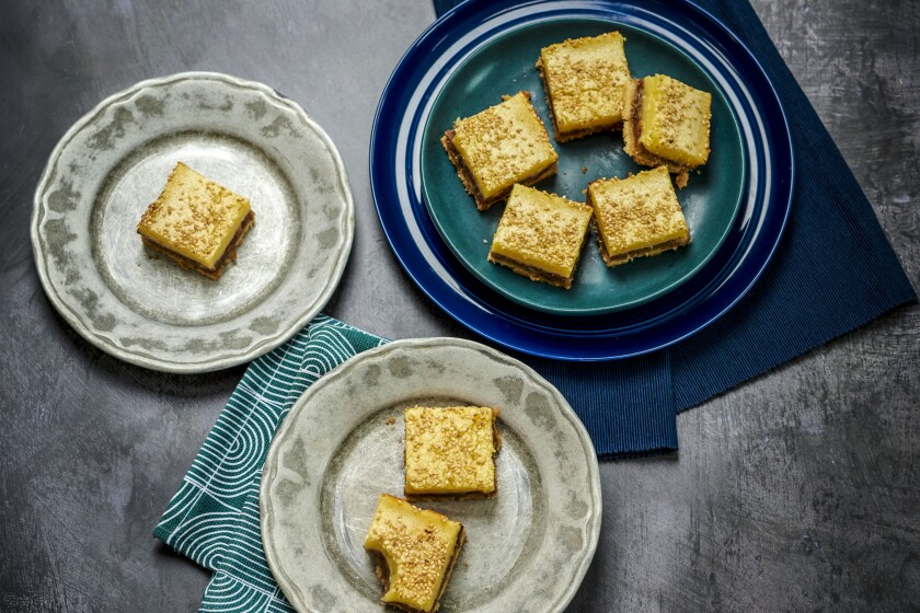 BOYLE HEIGHTS SEPT. 28, 2021: Lemon Bars with Date and Sesame.
