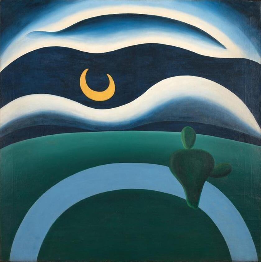 """Fotografía cedida por el Museo de Arte Moderno de Nueva York (MoMA) donde se muestra el cuadro """"A Lua"""" (""""La Luna"""") pintado en 1928 por la pintora brasileña Tarsila do Amaral (1886-1973), la representante más importante del modernismo en el país suramericano, que fue adquirido por el museo y que podrá verse en exhibición a partir de marzo de este año, según se anunció este miércoles. EFE/MoMA/SOLO USO EDITORIAL/NO VENTAS"""