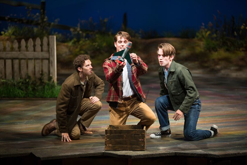 "Austyn Myers as O'Dell, Kyle Selig as Homer Hickam and Patrick Rooney as Roy Lee (left to right) in the Old Globe's West Coast premiere of ""October Sky."""