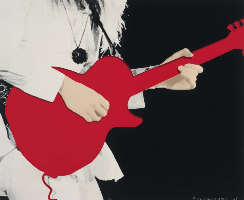 Detail from John Baldessari's Person with Guitar (Red). Collection of Hammer Museum.