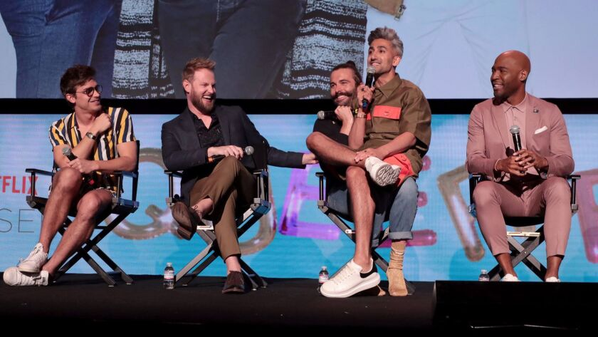"""Antoni Porowski, Bobby Berk, Jonathan Van Ness, Tan France and Karamo Brown of Netflix's """"Queer Eye"""" at an Emmy campaign event in Los Angeles."""