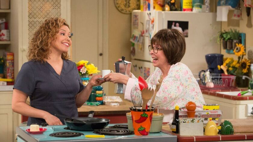 "Justina Machado, left, and Rita Moreno on ""One Day at a Time."""
