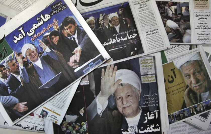 Former Iranian President Ali Akbar Hashemi Rafsanjani announced his candidacy this month for the June 14 presidential election, inspiring hope of genuine choice on a slate of candidates otherwise beholden to supreme leader Ayatollah Ali Khamenei. The conservative clerics of the Guardian Council on Tuesday rejected Rafsanjani's bid, as well as that of outgoing President Mahmoud Ahmadinejad's hand-picked candidate.