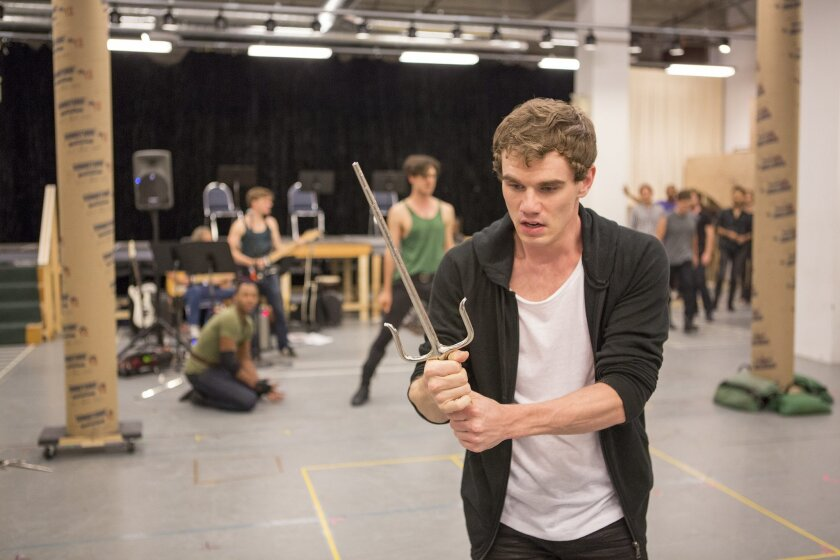 """Jay Armstrong Johnson, who plays Romeo, rehearses with the cast of """"The Last Goodbye,"""" a new musical fusing Shakespeare's """"Romeo and Juliet"""" with the songs of the late rock icon Jeff Buckley."""