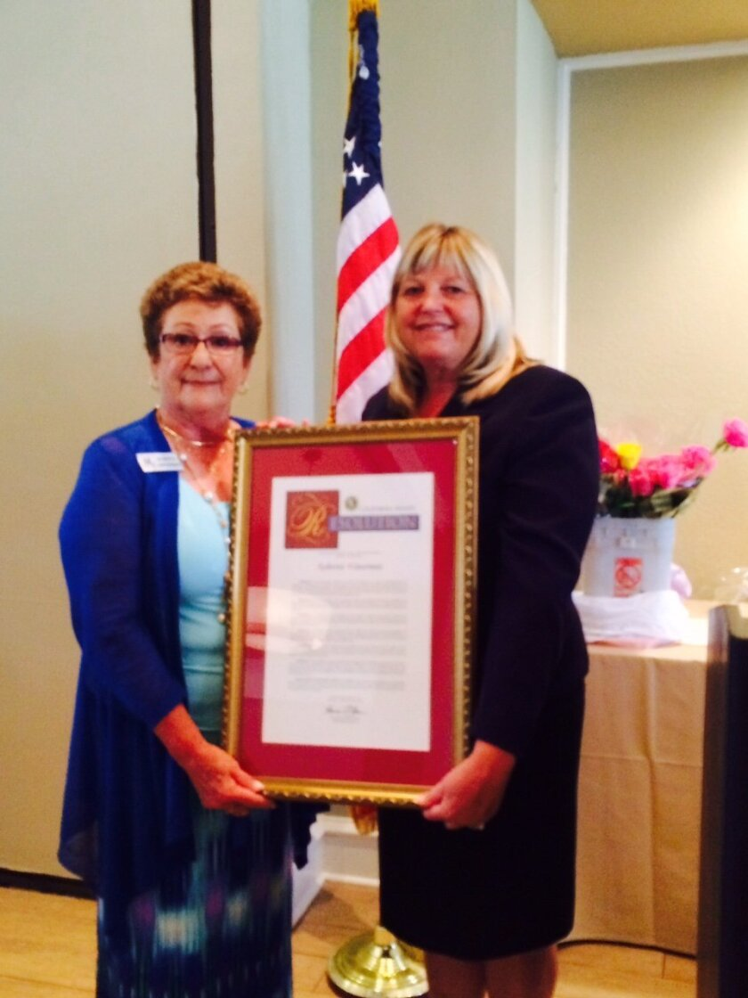 Roberta Waterman with her California State Resolution from the office of State Sen. Patricia Bates.