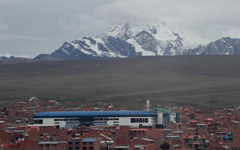 View of the Municipal Stadium of Villa Ingenio on Jan. 10, 2019, in El Alto, Bolivia. A stadium with more than 4,000 meters (13,100 feet) high in the Bolivian highlands, an enthusiastic supporter and a team with international players are the main weapons of the newly promoted Always Ready, which this year has set the goal of signing his pass to a Continental tournament. EPA-EFE/Martin Alipaz