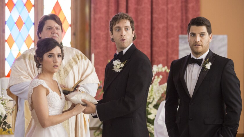 """Shannon Woodward, Billy Merritt, Thomas Middleditch and Adam Pally star in """"Search Party."""""""