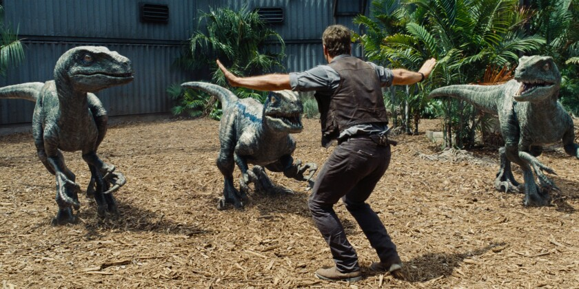 "Owen (Chris Pratt) tries to calm his raptors in ""Jurassic World,"" whose box office take put it at No. 1 on the all-time list of top opening weekends, not accounting for inflation."