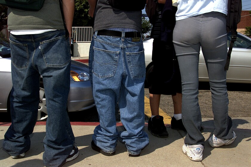 Students are seen leaving Granada Hills High School.