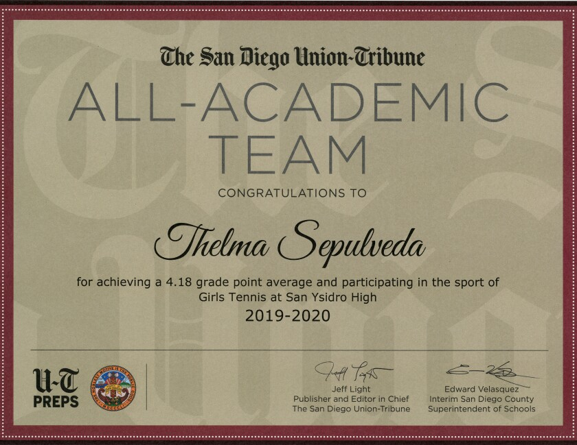 Union-Tribune All-Academic Team certificate 2019-20