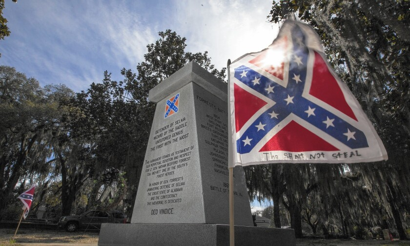 The ongoing racial divide in Selma, Ala., is evident in the feud over the bronze bust of Confederate Gen. Nathan Bedford Forrest that was taken from his monument.