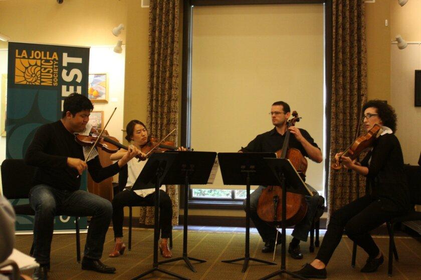 The Verona Quartet — Jonathan Ong, violin; Dorothy Ro, violin; Warren Hagerty, cello; and Abigail Rojansky, viola — kick off the two-week concert series at La Jolla's Riford Library.