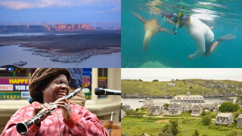Clockwise from top left: Lake Powell, Ariz.; Isla Espíritu Santo, Baja Sur, Mexico; Monhegan, Maine; and Doreen Ketchens in New Orleans.
