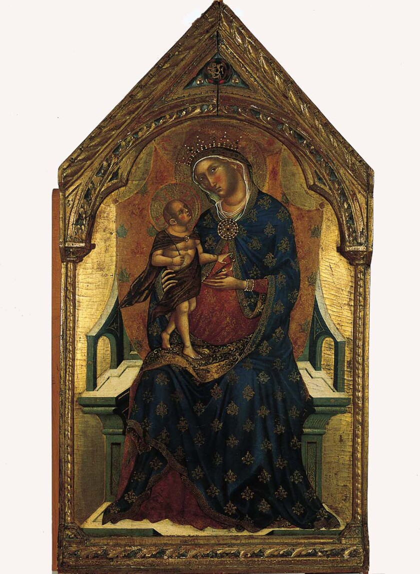A Paolo Veneziano depiction of baby Jesus standing, adult-like, on Mary's knee.