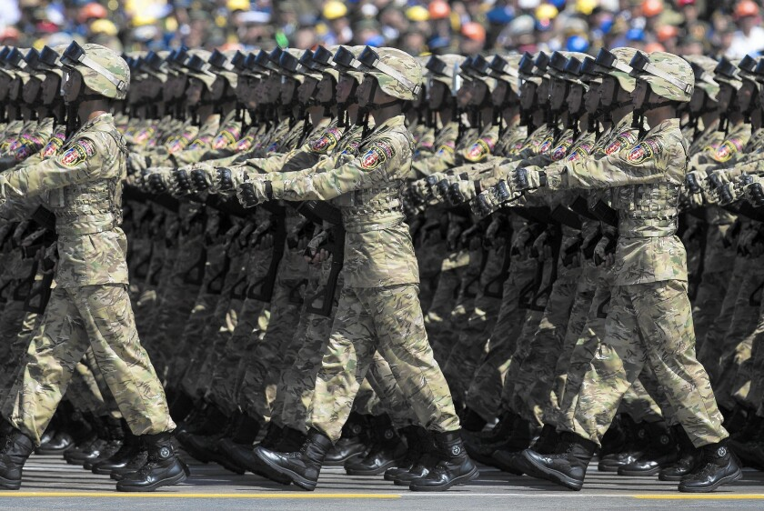 Troops march in China's parade