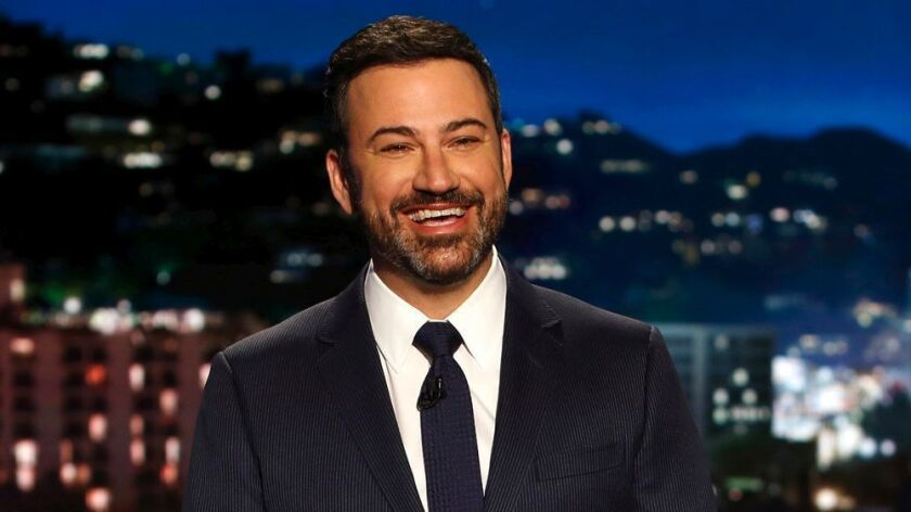 "In this April 11, 2017 photo, host Jimmy Kimmel appears during a taping of ""Jimmy Kimmel Live,"" in L"