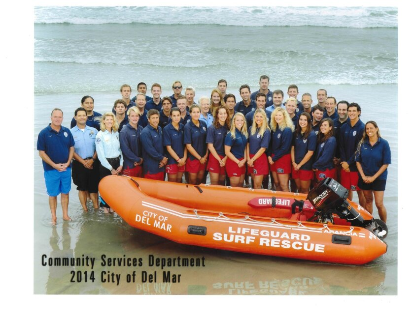 The Del Mar Lifeguard team in 2014. Carmel Valley resident Patrick Vergne has led the team for about 15 years. Courtesy photo