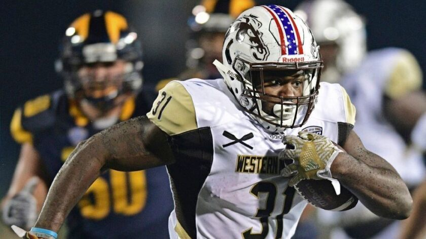 Western Michigan running back Jarvion Franklin (31) carries during a game last season.