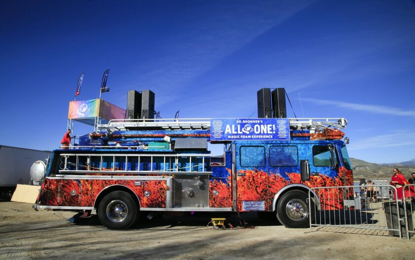 The Dr. Bronner's Magic fire truck was on display at the Spartan Race 2015 at the Vail Lake Resort in Temecula. Participants got a good soaking of Dr. Bronner's  peppermint flavored foaming magic soap at the end of the race.