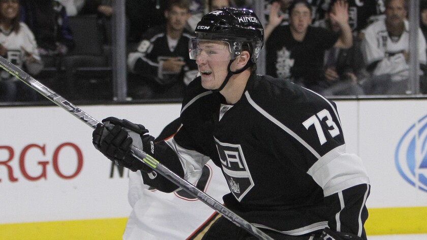Kings forward Tyler Toffoli scores on a breakaway against the Ducks during an exhibition game on Sept. 24. On Friday, the23-year-old was granted a two-year contract extension.