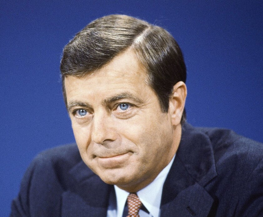 """File- This Aug. 9, 1981, file photo shows Secretary of transportation Drew Lewis on TV's """"Face the Nation"""". Lewis, a businessman who served as U.S. transportation secretary under President Ronald Reagan during the 1981 air traffic controllers' strike, has died. He was 84. His son, Andy Lewis, says"""