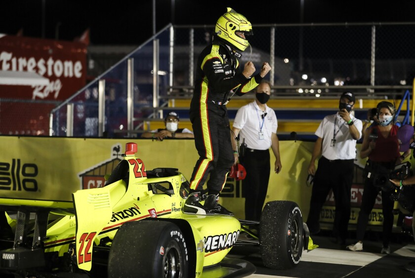 Simon Pagenaud celebrates after winning an IndyCar race July 17, 2020, at Iowa Speedway.