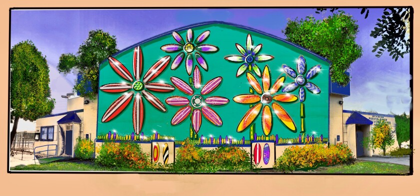 A rendering of what the finished mural on the north wall of the Pacific Beach Recreation Center will look like.
