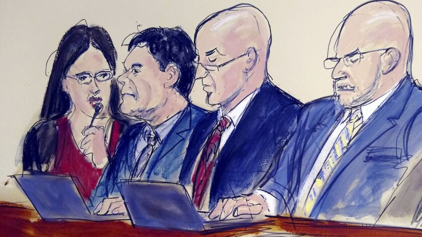 """In this courtroom drawing, defendant Joaquin """"El Chapo"""" Guzman, second from left, listens as the verdict is read in his drug trafficking trial on Tuesday in New York. Seated with him, from left, are an interpreter and defense attorneys William Purpura and Eduardo Balarezo."""