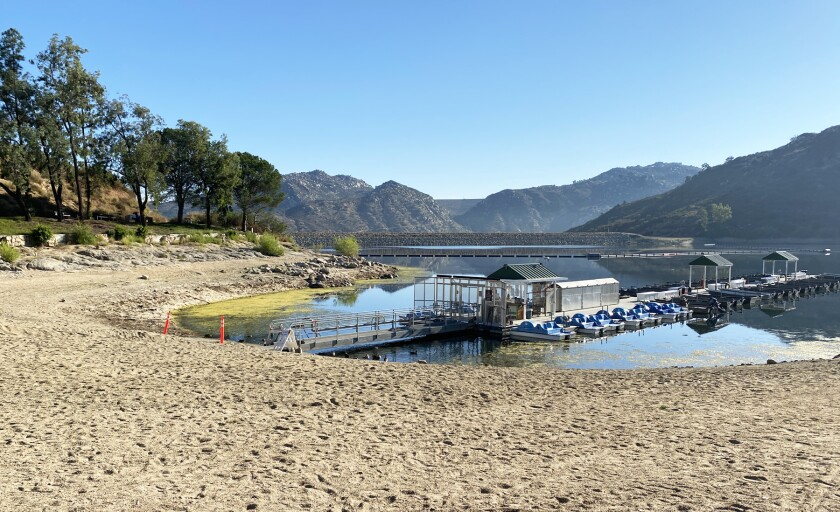 Lake Poway's water level is temporarily lower due to maintenance.