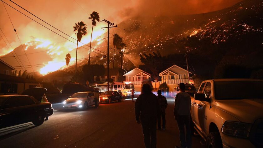 VENTURA, CA - DECEMBER 5, 2017: Residents watch the Thomas Fire on Prospect Street in Ventura. (Mich