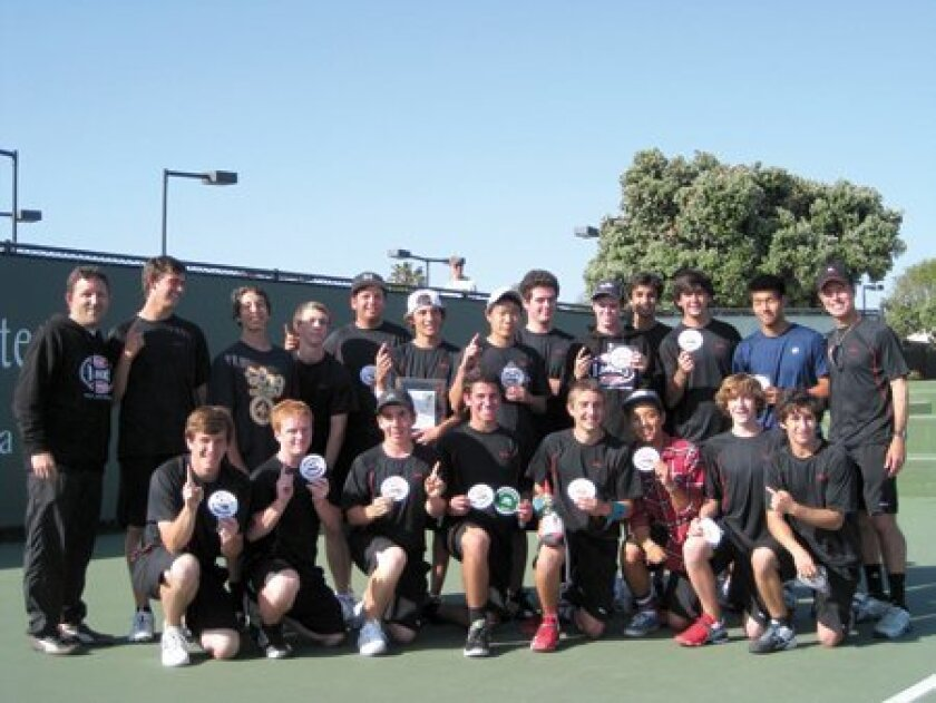 (Above) members of the winning Canyon Crest Academy tennis team in alphabetical order: Sean Benatar, Greg Berg, Zach Blumkin, Mark Feldgreber, Eydan Fishel, Charlie Frishberg, Jordan Goodman, Trey Hahn, Sam Kang, Daniel King, Joe McClenny, Ryan Preiss, Andy Prolman, Andrew Rusinek, Sajan Sanghvi, A