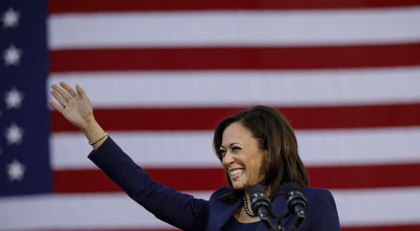 U.S. Sen. Kamala Harris, appearing at an event during her presidential campaign in 2019, has endorsed George Gascón for L.A. County district attorney.