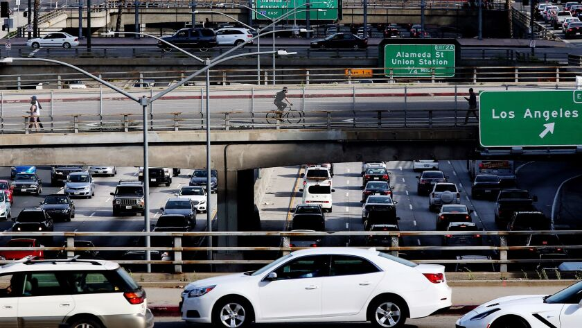 LOS ANGELES, CALIF. - MAR.14, 2017. Traffic on bridges and the Hollywood Freeway in downtown Los An