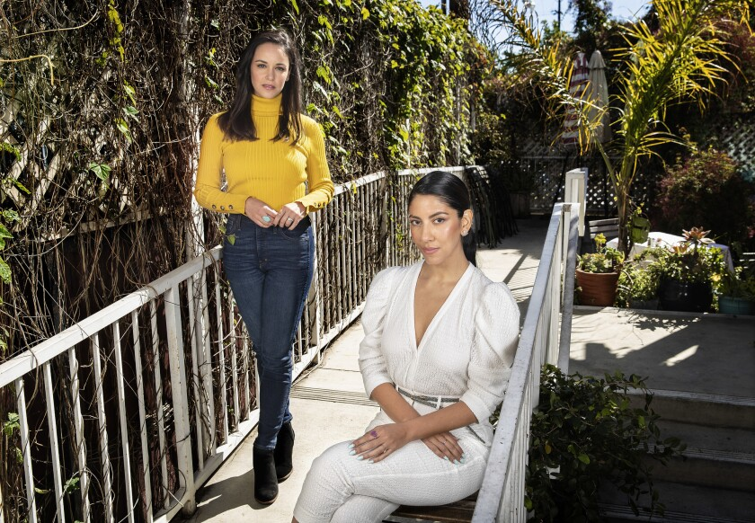 "HOLLYWOOD, CA-FEBRUARY 22, 2019: ""Brooklyn Nine-Nine"" stars Melissa Fumero, left, and Stephanie Bea"