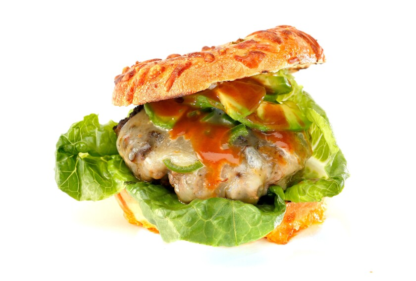 This hot jalapeno burger includes habanero powder, pepper jack cheese, jalapeno slices and a jalapeno cheese bagel.