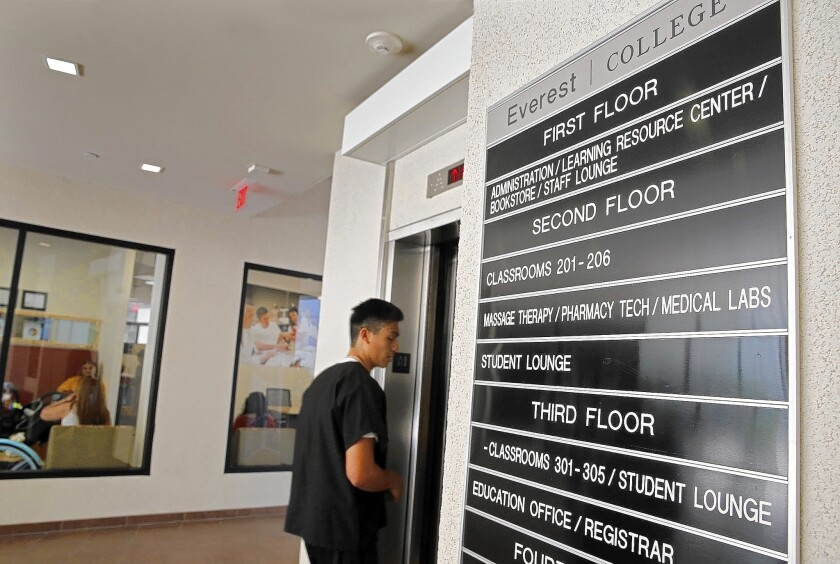 Corinthian Colleges said last month that it would sell 85 of its 107 campuses and online programs. Above, the lobby of Corinthian's Everest College in Santa Ana in June.