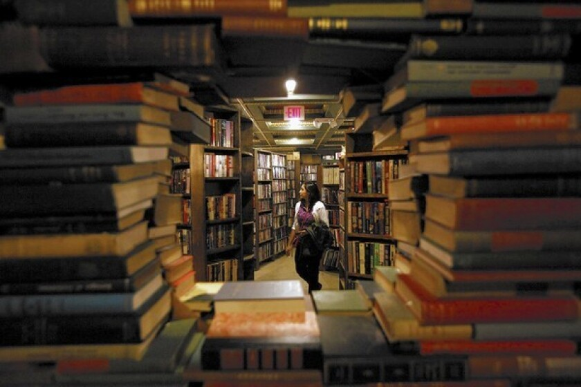 Stacks of book inside the Last Bookstore in Los Angeles.