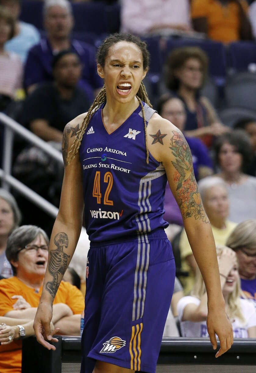 Phoenix Mercury's Brittney Griner yells at officials after being called for a third foul during the first half of a WNBA basketball game against the Minnesota Lynx on Wednesday, May 25, 2016, in Phoenix. (AP Photo/Ross D. Franklin)